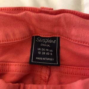 Seraphine under belly maternity coral jeans